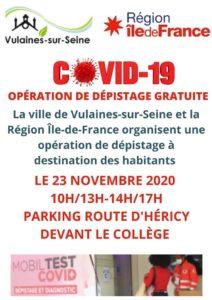 Dépistage Covid 19 23 novembre 2020
